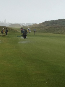 Water on the first green